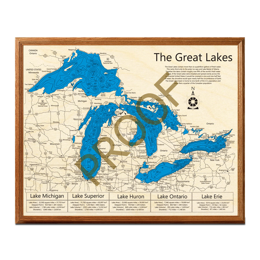 Great Lakes 3D Nautical Wood Map | 3D Framed Map