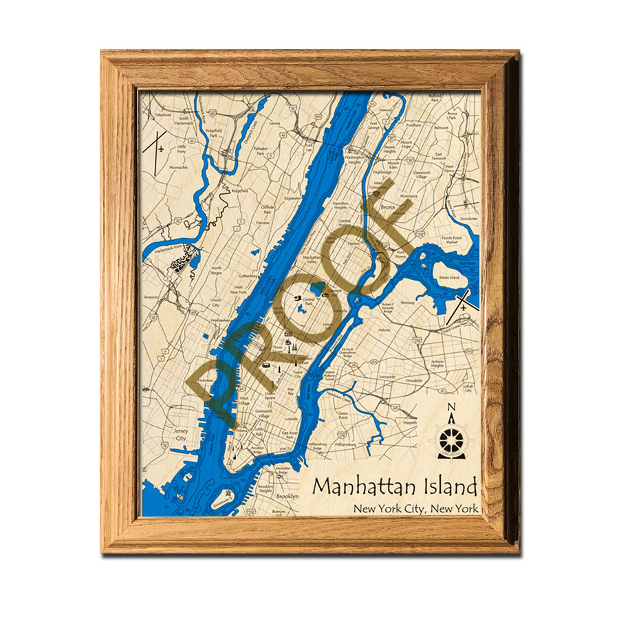 New York City laser-etched wood map, laser-printed poster wall art