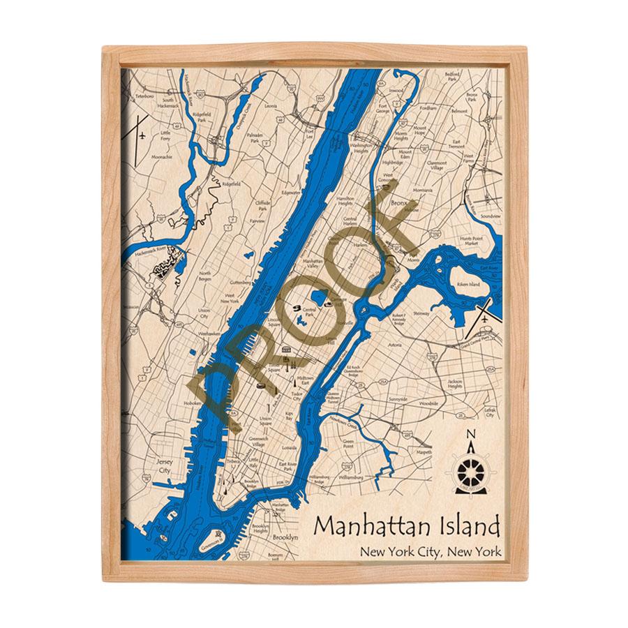 Map Of New York Waterways.Manhattan Nyc Nautical Wood Serving Tray