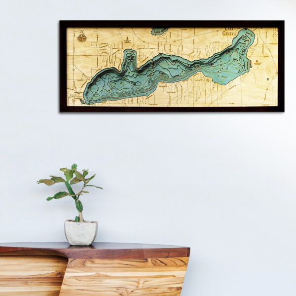 Lake Geneva wood map, Lake Geneva 3d wood poster