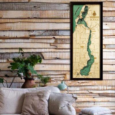 Lake Leelanau map, Lake Leelanau 3d wood poster