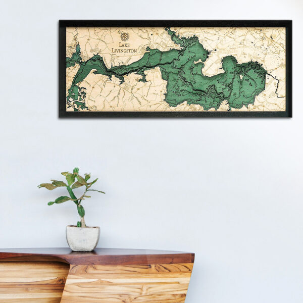 Lake Livingston wood map, Lake Livingston 3d poster