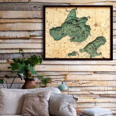 Lake Mendota 3d wood map, Lake Mendota poster wall art