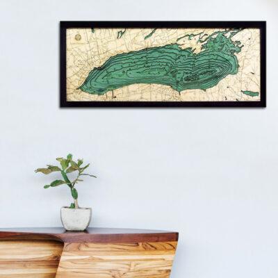 Lake Ontario 3d wood map, Lake Ontario poster wall art