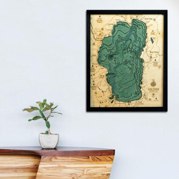 Lake Tahoe Wood Map, Lake Tahoe poster