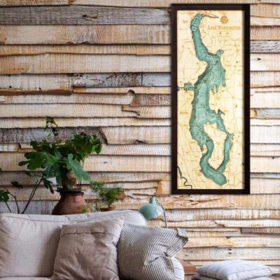 Lake Washington 3d wood map, Lake Washington poster