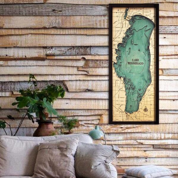 Lake Winnebago 3d wood map, Lake Winnebago poster
