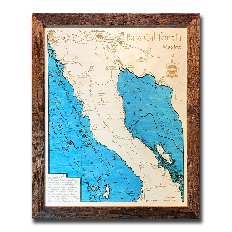 Baja Nautical Wood Map