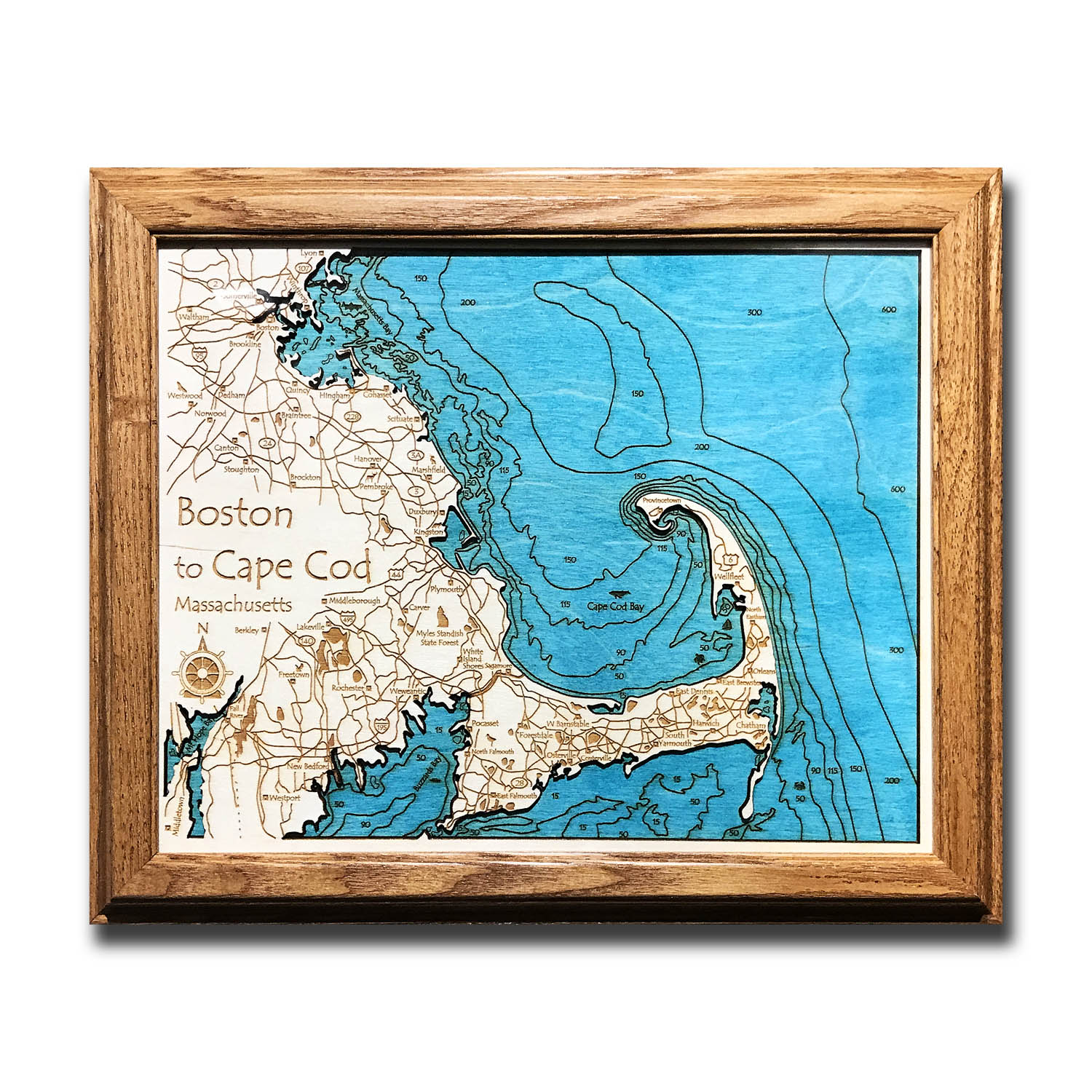 Boston and Cape Cod Wooden Map