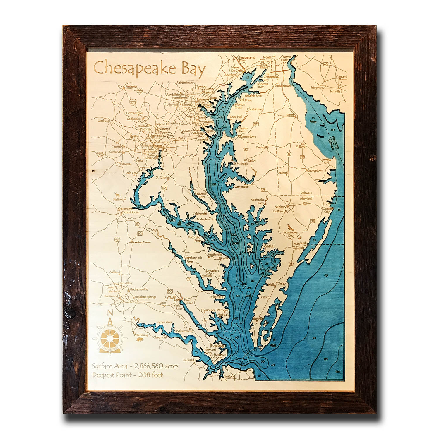 Chesapeake Nautical Wood Map