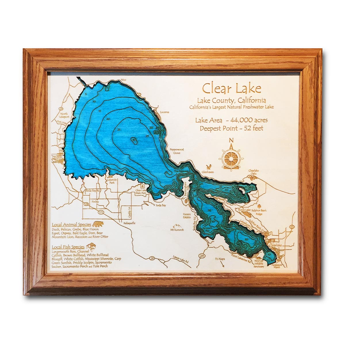 Clear Lake CA laser etched wood map