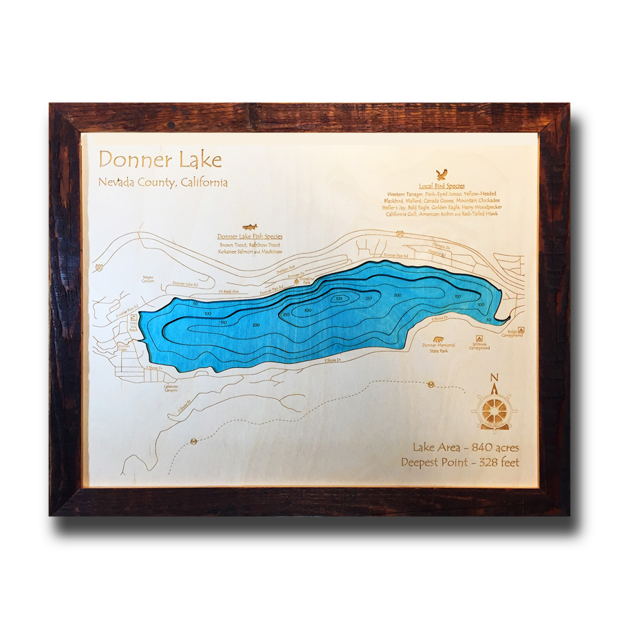 3D Wood Map of Donner Lake