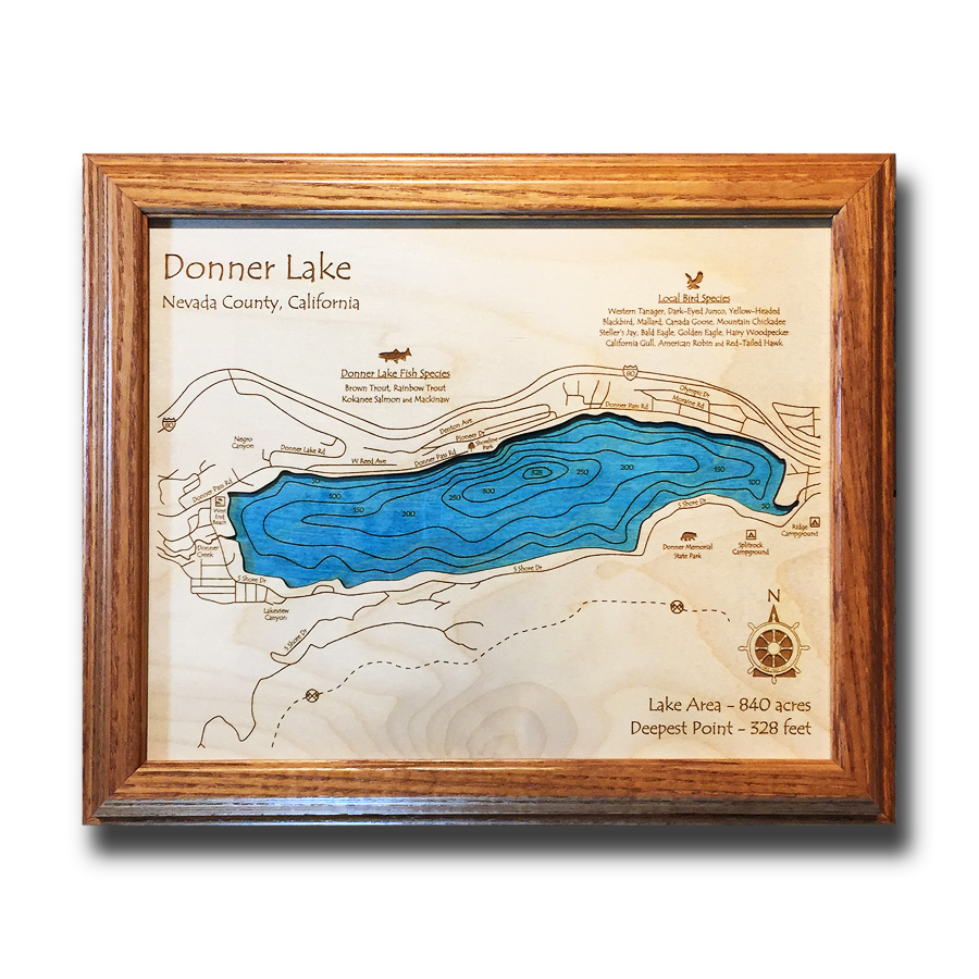 Donner Lake Truckee Wooden Map