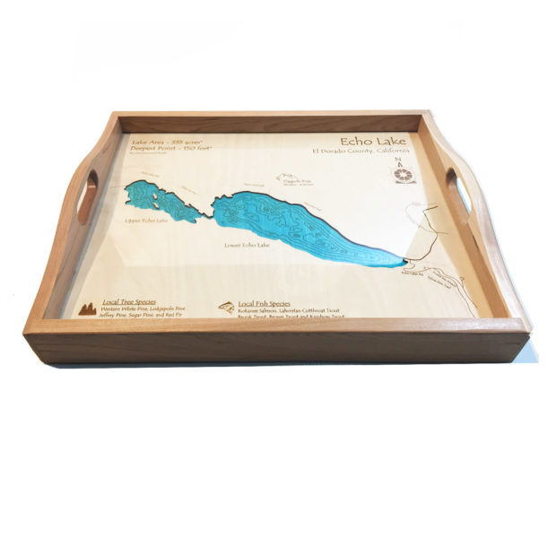 Echo Lake Wood Map Serving Tray