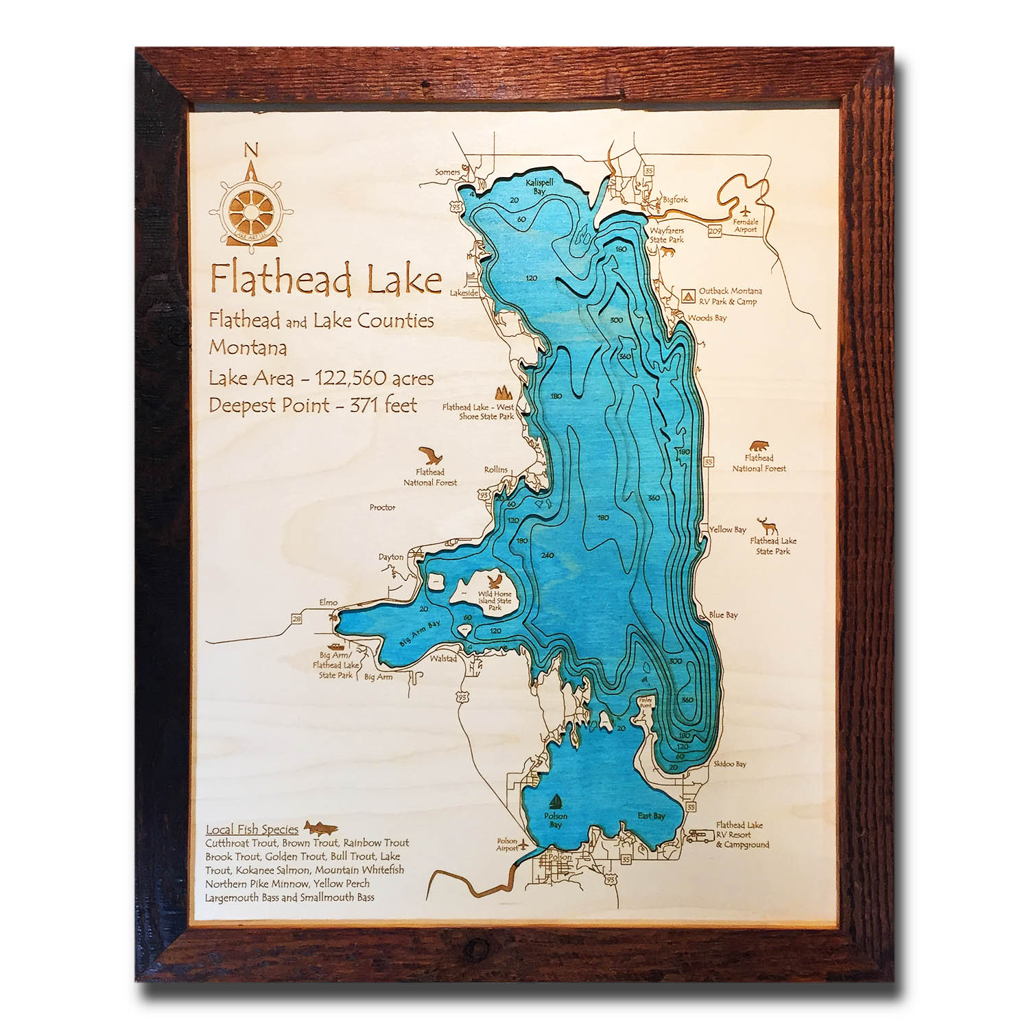 Flathead Lake Nautical Wood Map