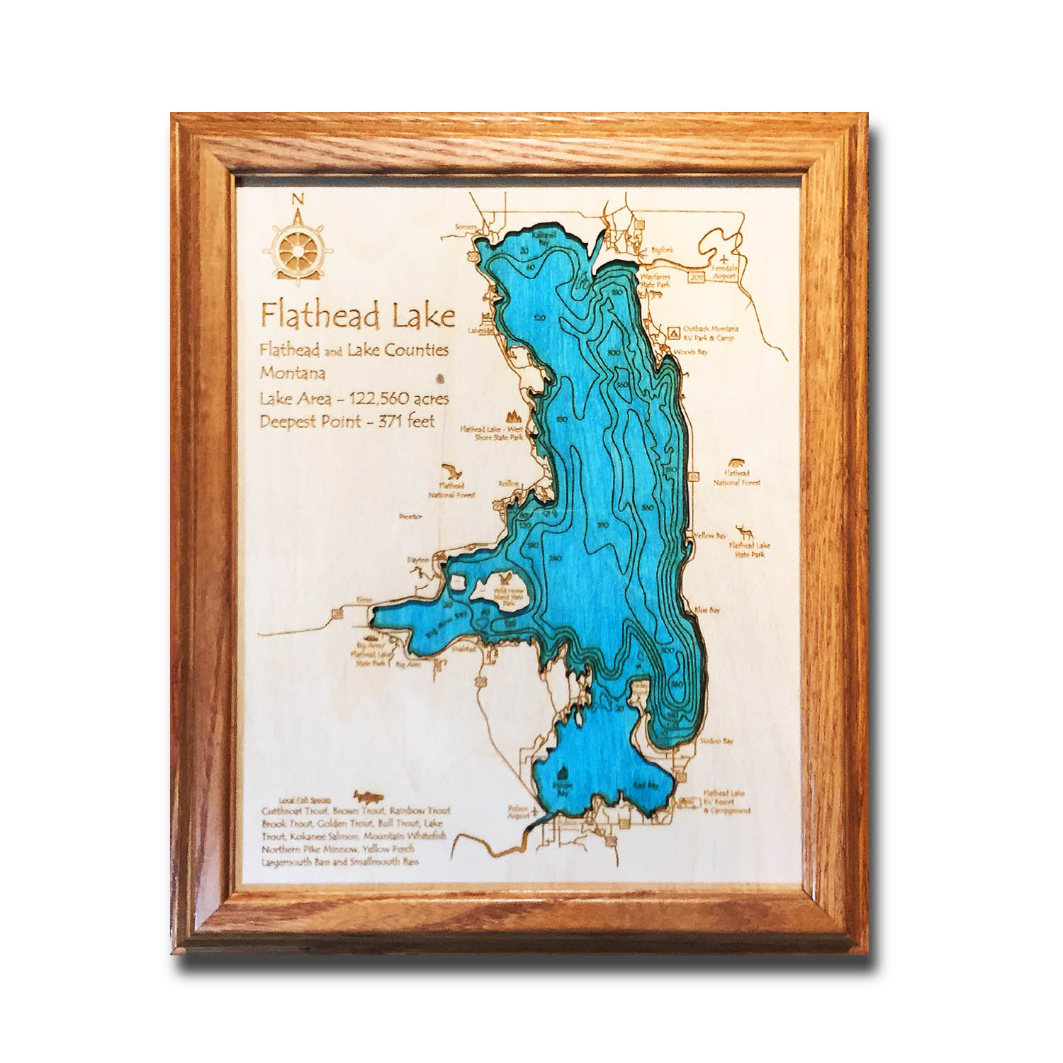 Flaheat Lake laser etched carved wood map