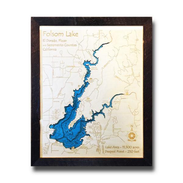 Folsom Lake Wood Map, Framed 3D Map