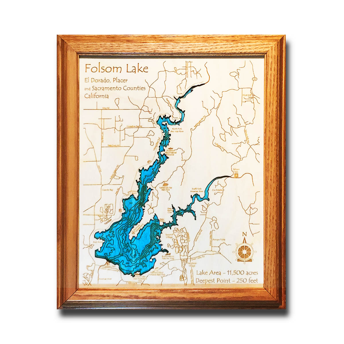 Folsom Lake Wood Chart Topo Map