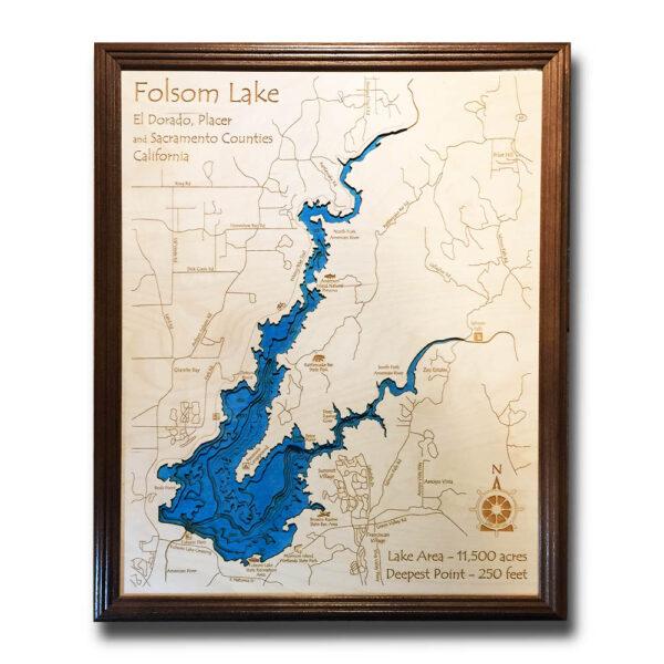 Folsom Lake California Framed Wooden Map