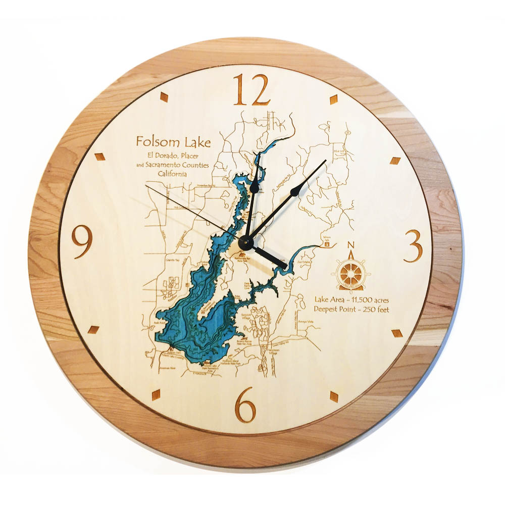 Folsom Lake 3D Wooden Clock