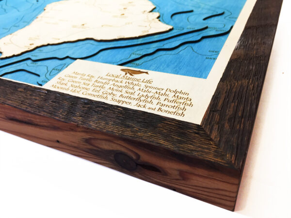 hawaii 3d wood map with rustic frame