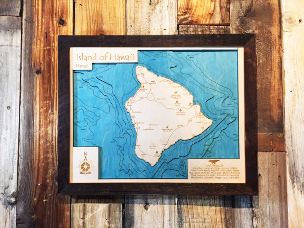 nautical wood map of hawaii 3d