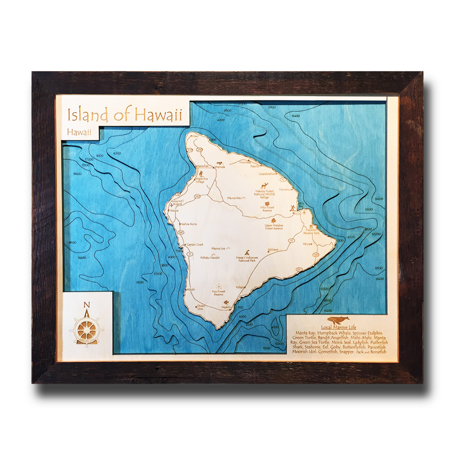 Hawaii Wood Map