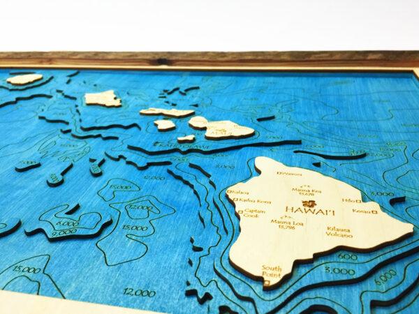 hawaiian islands topographic wood chart