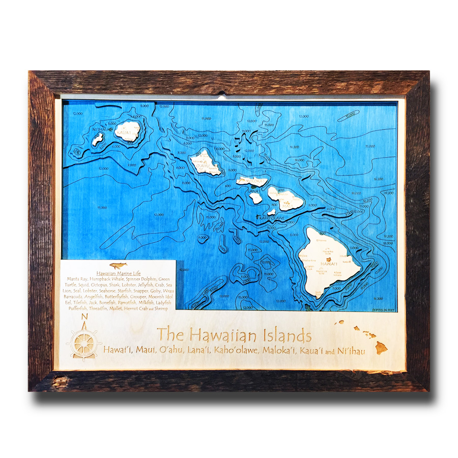 Hawaii Nautical Wood Maps, Hawaiian Islands Wall art