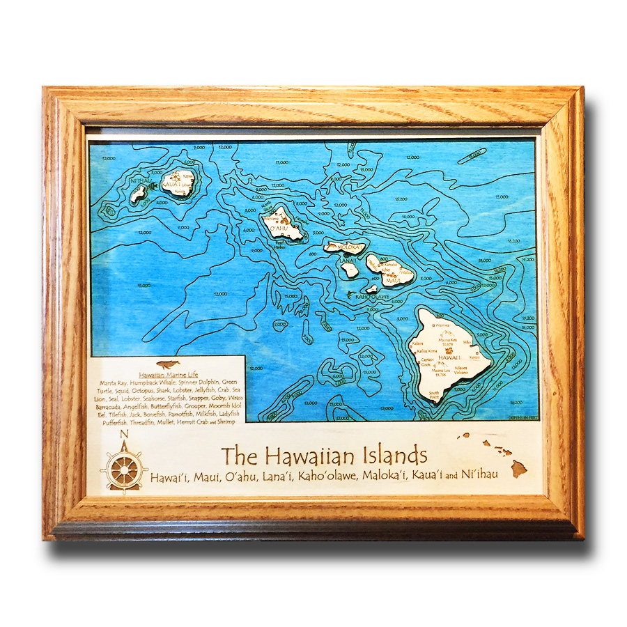 hawaiian islands wood map small