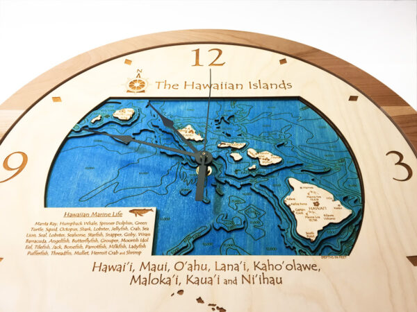 hawaiian islands topo 3d clock