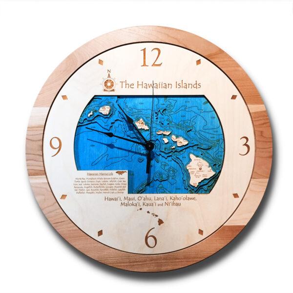 Hawaiian Islands Wood Clock