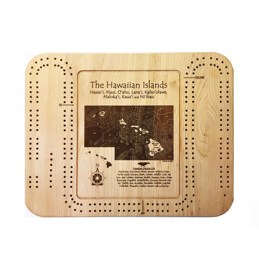hawaiian islands wood cribbage board
