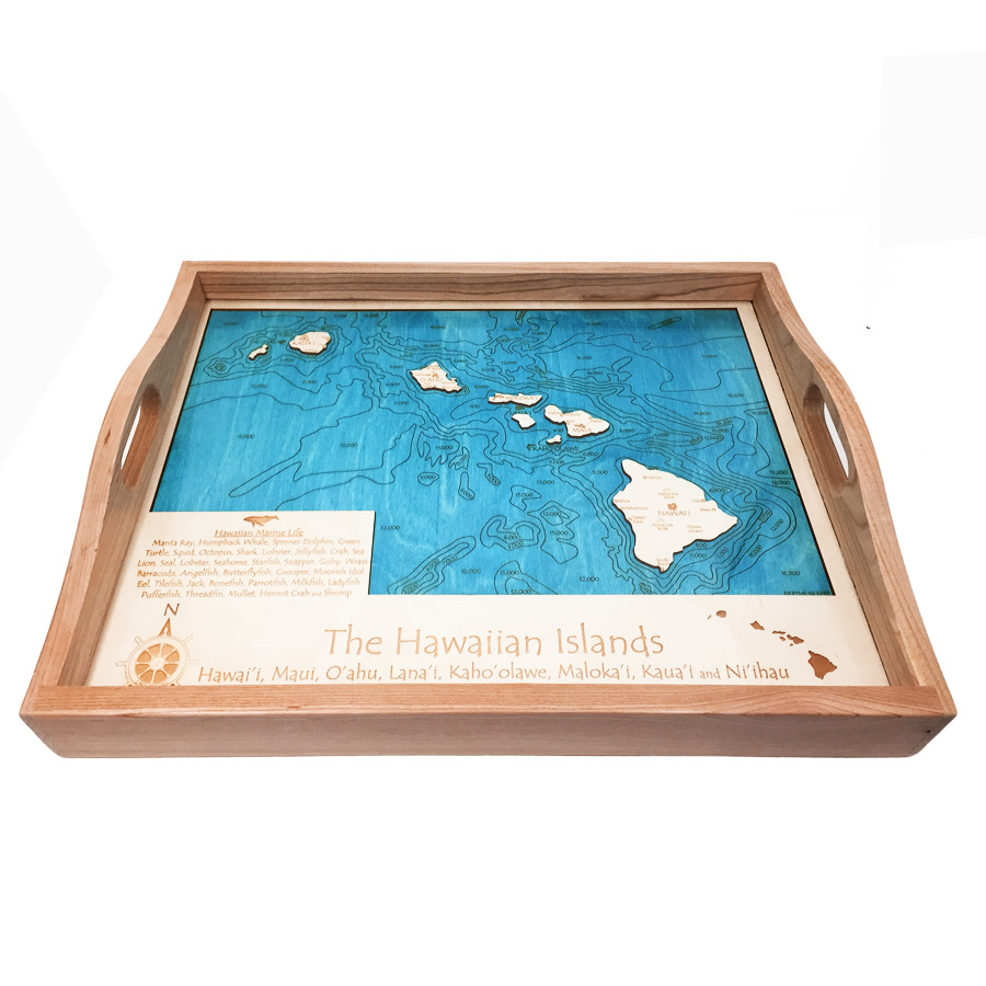 Hawaiian Islands Wood Map Serving Tray