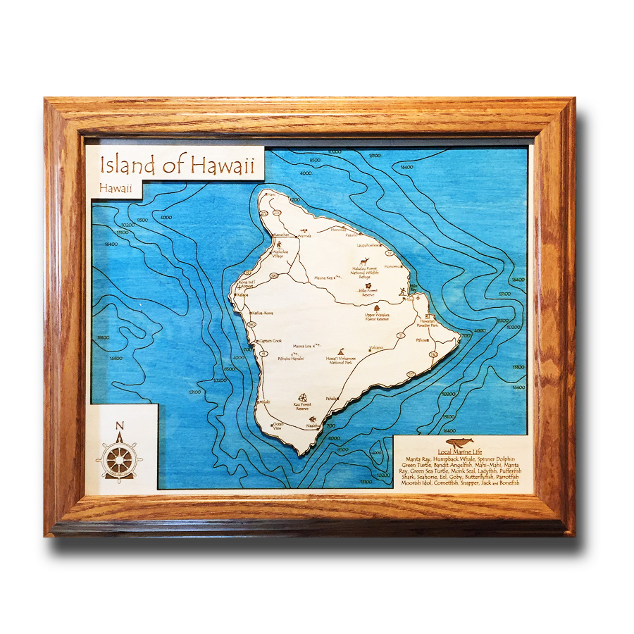 hawaii nautical wood map of the big island