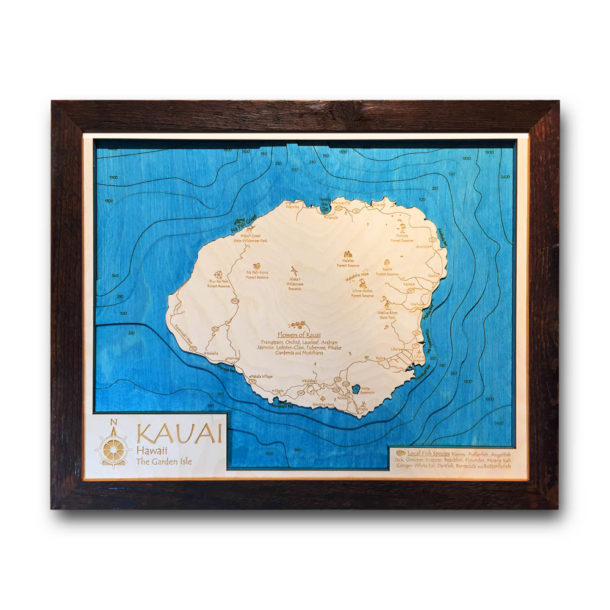 Framed Kauai Wall Art, 3d Wood Map