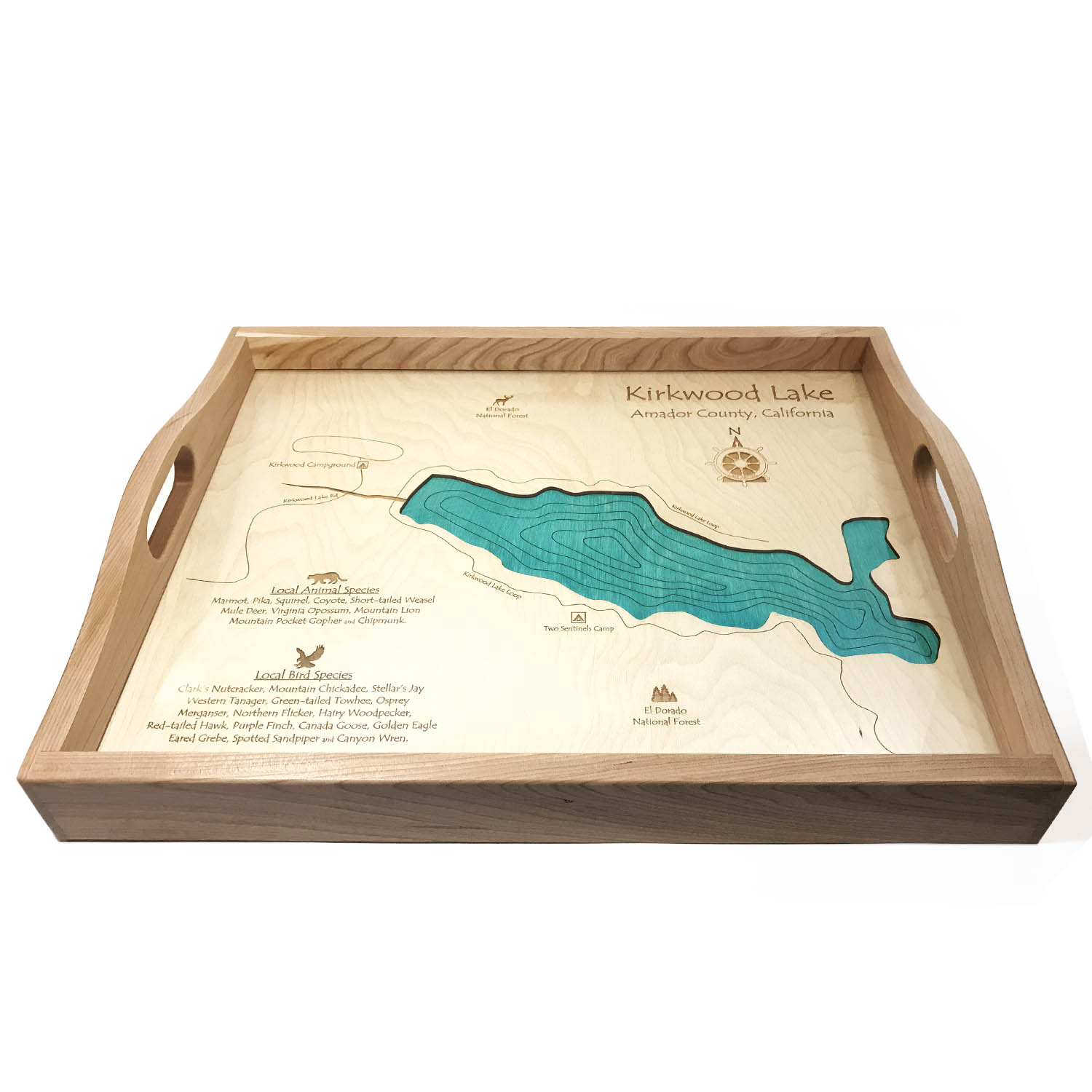 Kirkwood Lake Wood Map Serving Tray