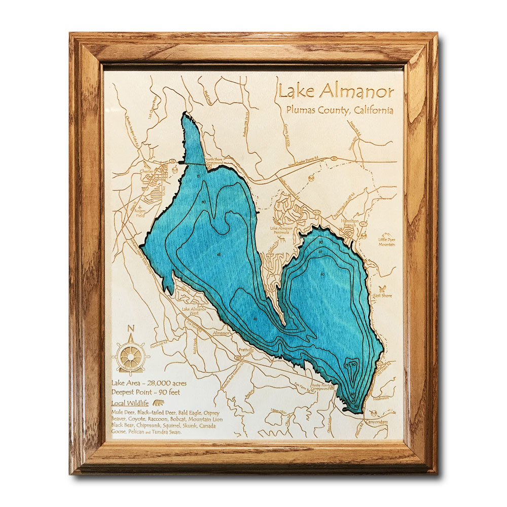 Lake Almanor CA laser-etched wood map, laser-printed poster wall art