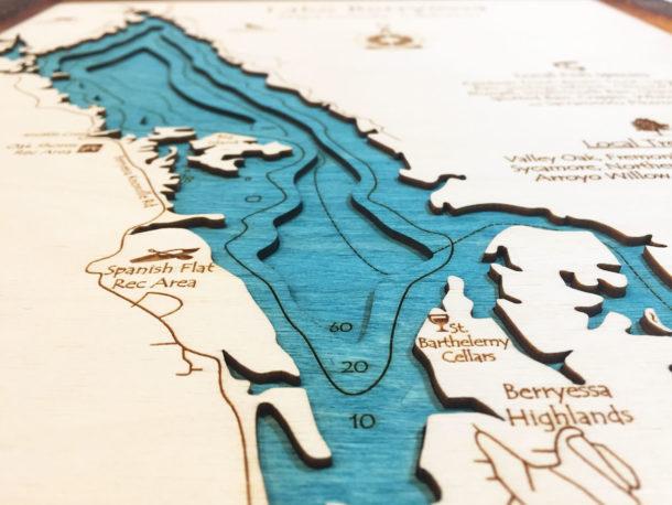 Lake Berryessa Map Lake Berryessa, CA 3D Nautical Wood Map, Barnwood Frame, 14
