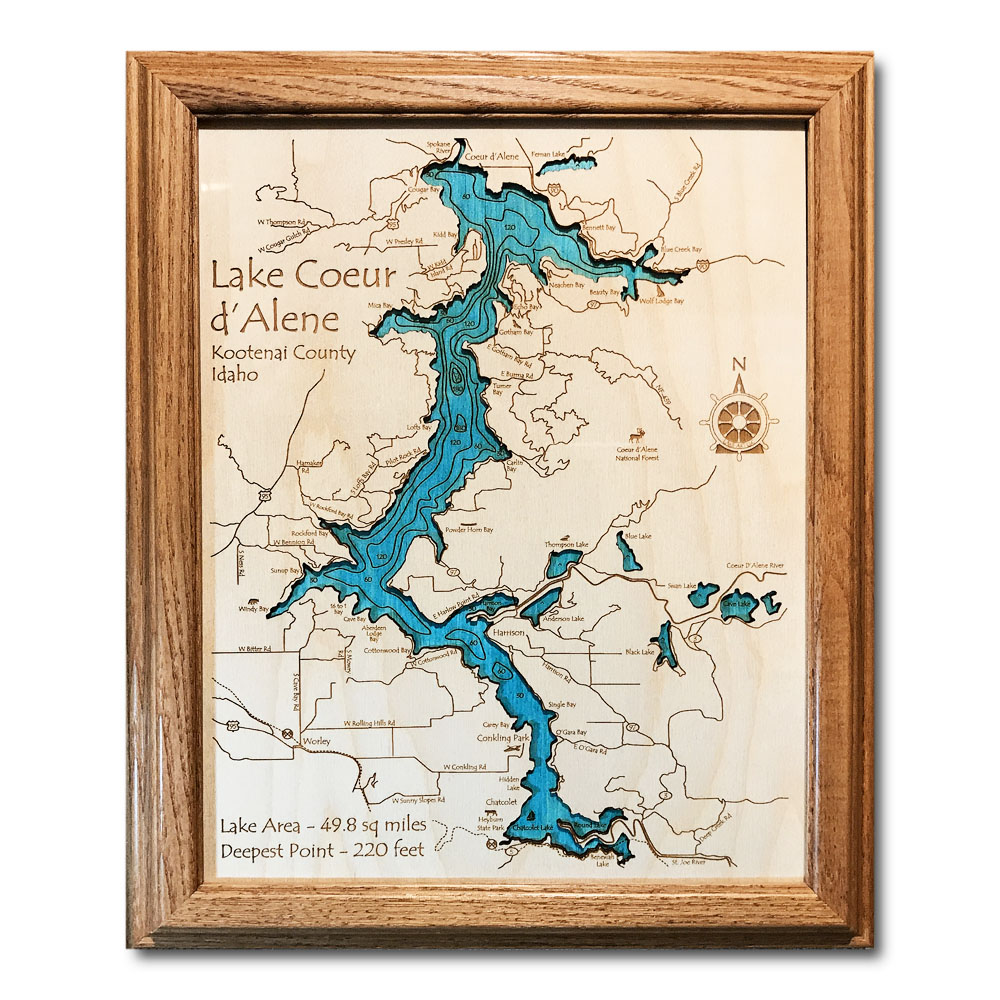 Lake Coeur d'Alene Idaho laser-etched wood map, laser-printed poster wall art
