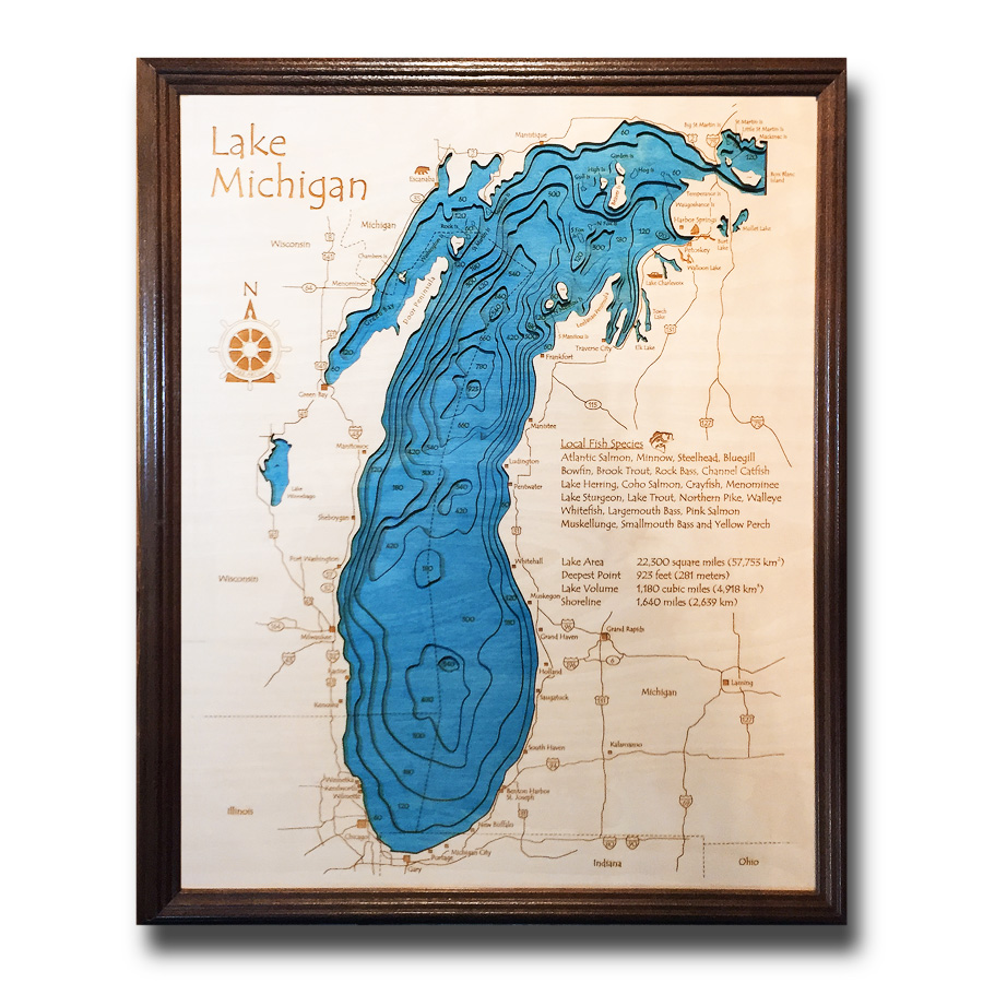Great Lakes Nautical Wood Map