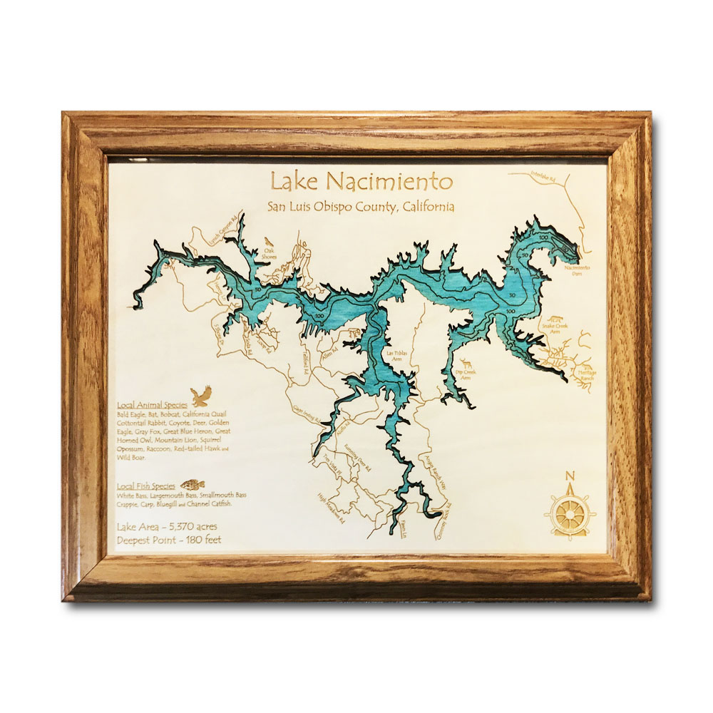 Lake Nacimiento CA laser-etched wood map, laser-printed poster wall art