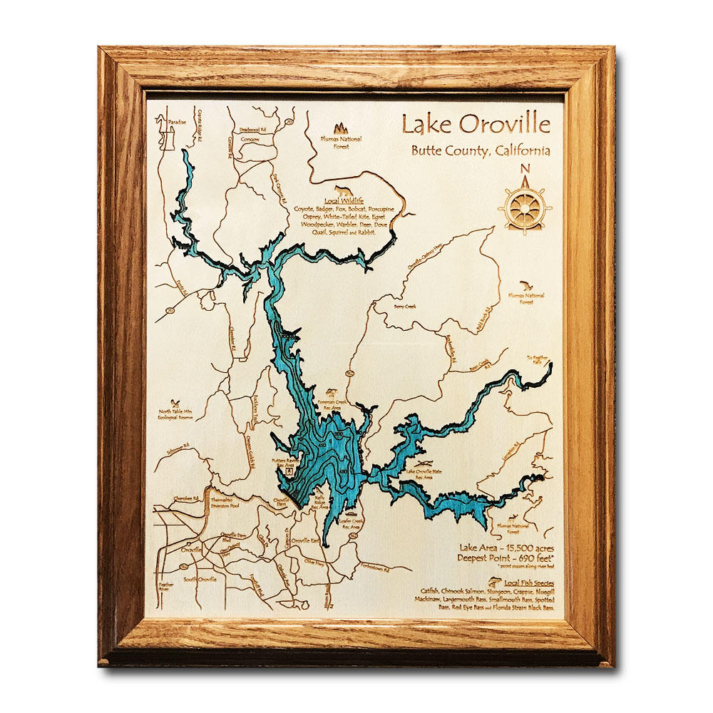 Lake Oroville CA laser-etched wood map, laser-printed poster wall art