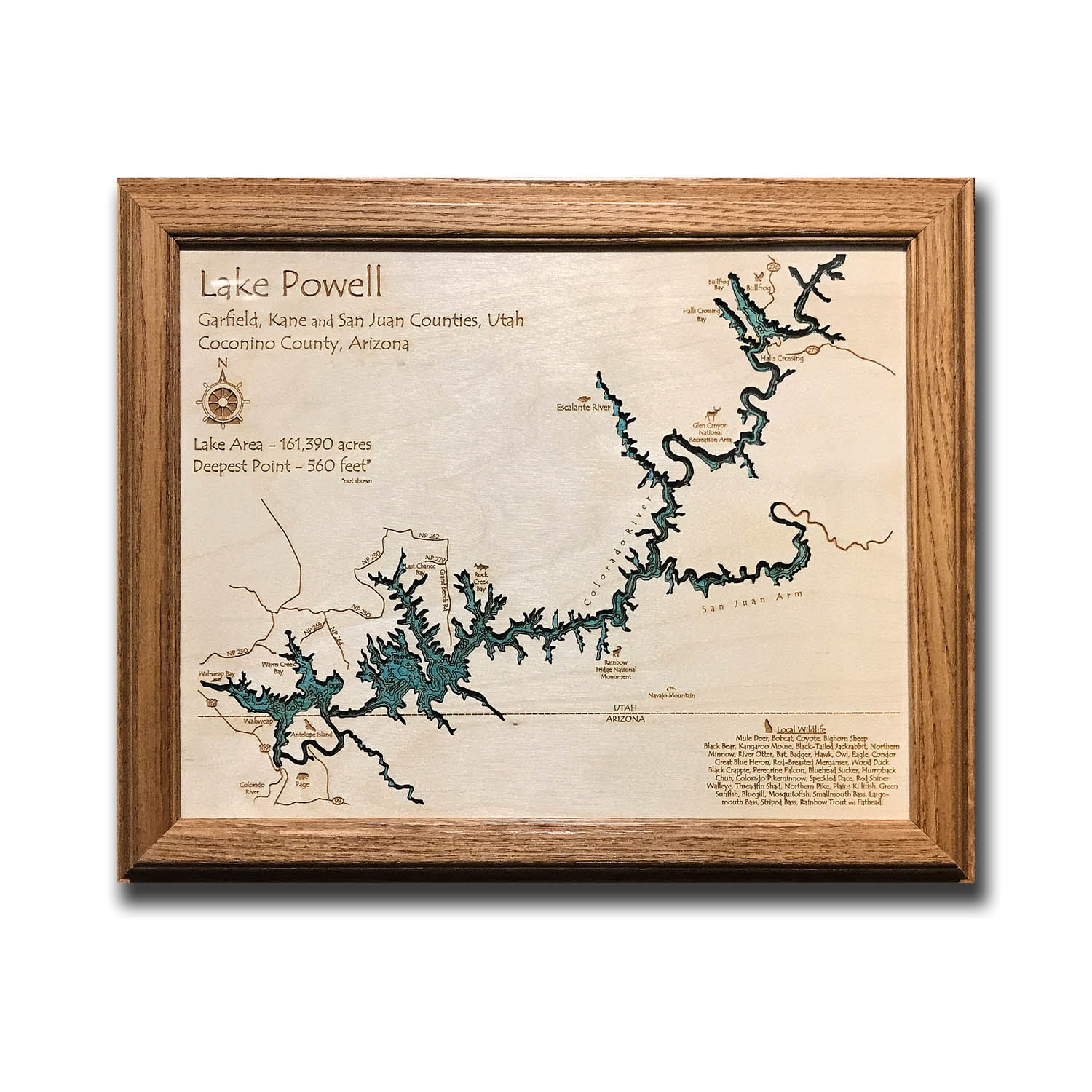 Lake Powell laser-etched wood map, laser-printed poster wall art