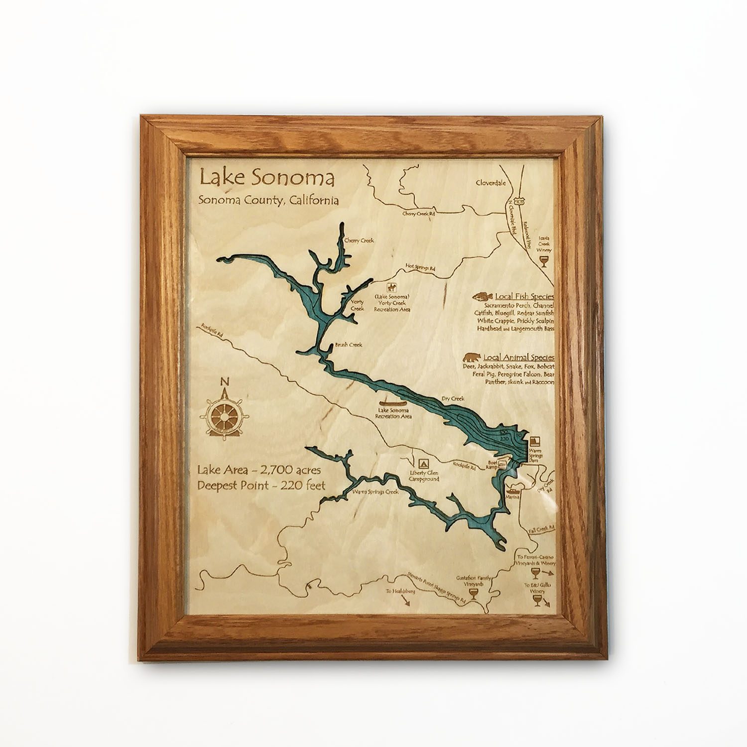 Lake Sonoma CA laser-etched wood map, laser-printed poster wall art
