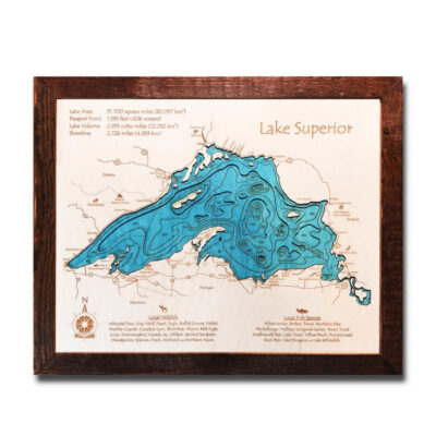 Lake Superior 3D Wood Map, Framed Wall Art 14x18