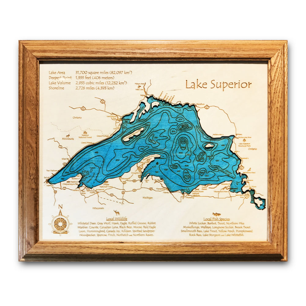 Lake Superior Wood Chart, Laser engraved chart