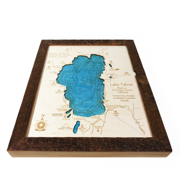 3D Map of Lake tahoe with barnwood frame