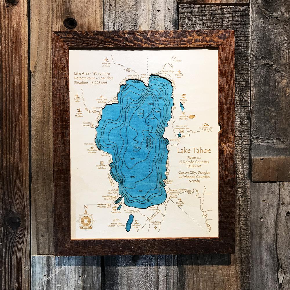 Lake Tahoe Wood Map Lake Tahoe Wood Chart Single Depth