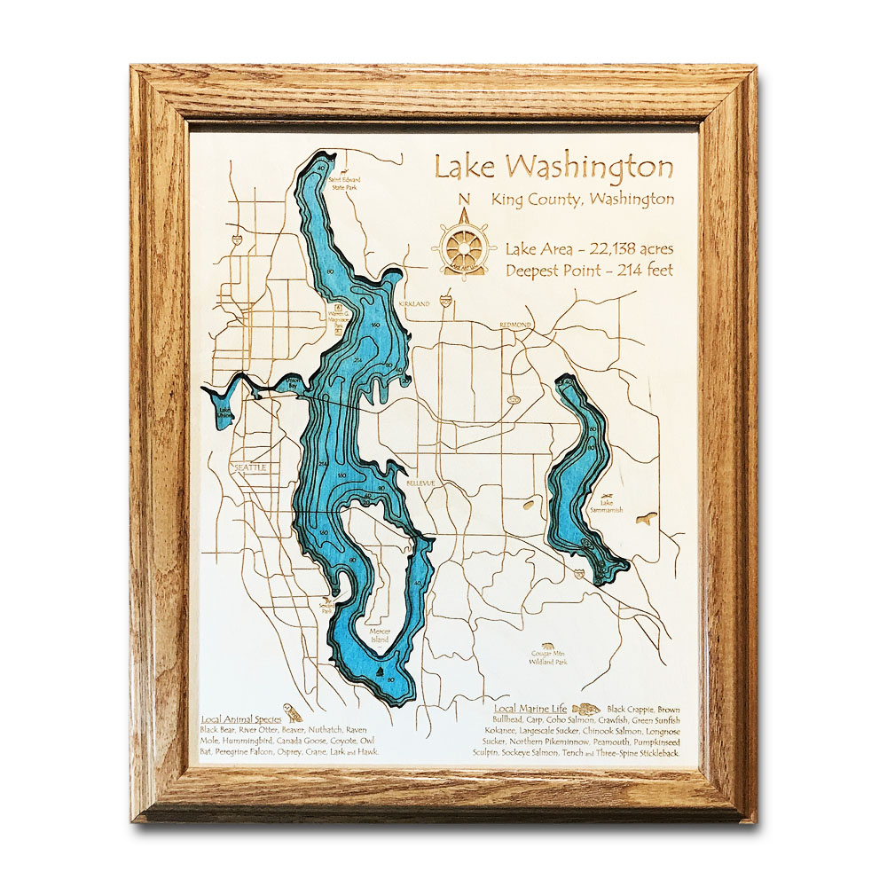 Lake Washington WA laser-etched wood map, laser-printed poster wall art